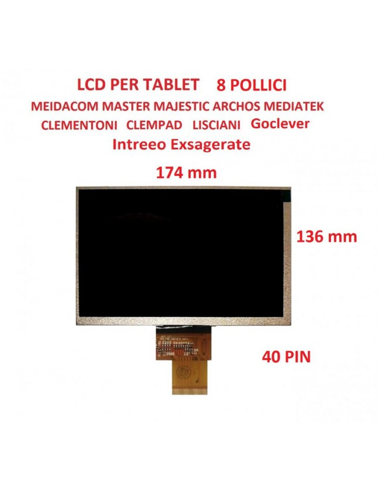 LCD per MEDIACOM S2 M-MP875s2 FPC_ADP_TEST HJ080IA-01F