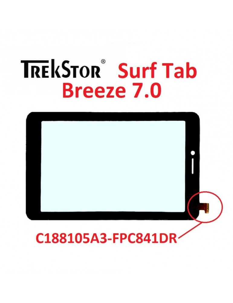 VETRO TOUCH SCREEN Trekstor Surf Tab Breeze C188105A3-FPC841DR 7 POLLICI NERO