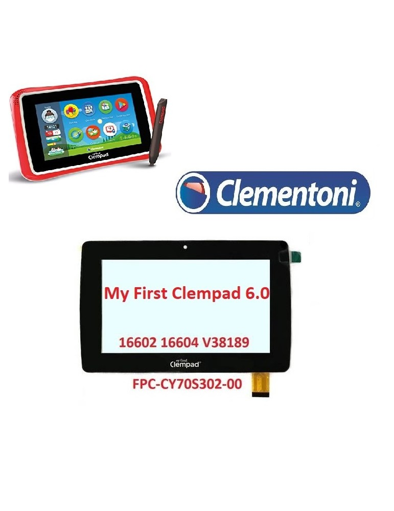 VETRO TOUCH SCREEN MY FIRST CLEMPAD V43819 v38189 16602 16604 FPC-CY70S302-00 NERO