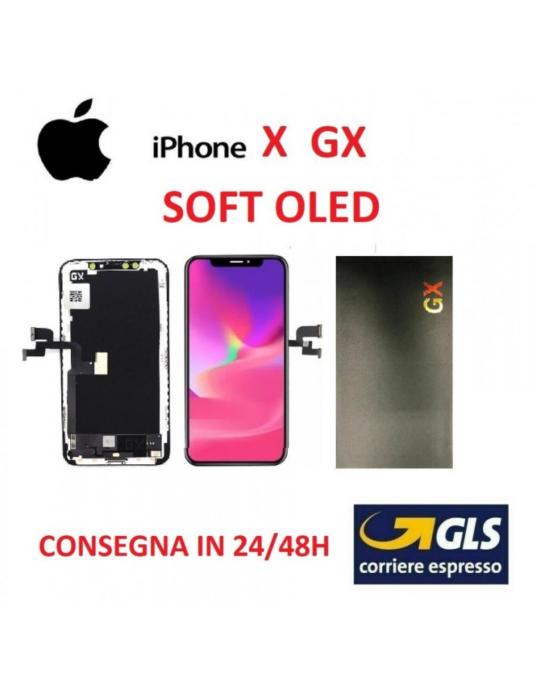 DISPLAY LCD IPHONE X GX 3 SOFT AMOLED VETRO TOUCH SCREEN