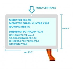 Touch Vetro 10 MEDIATEK XLD-90 MEDIATEK ZH960 DH1096A4-FPC308 GT10PG127  V2.0 YUNTAB K107 IBOWING BEISTA Mis:23,7*16,7 Camera ce