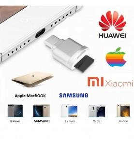 Adattatore da Type-C a USB 3.1 MICRO SD TF Memory Card Reader OTG Adapter per Macbook per Cellulari Samsung & Huawei Xiaomi