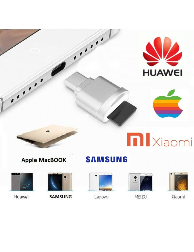 Adattatore da Type-C a USB 3.1 MICRO SD TF Memory Card Reader OTG Adapter per Macbook per Cellulari Samsung & Huawei Xiaomi