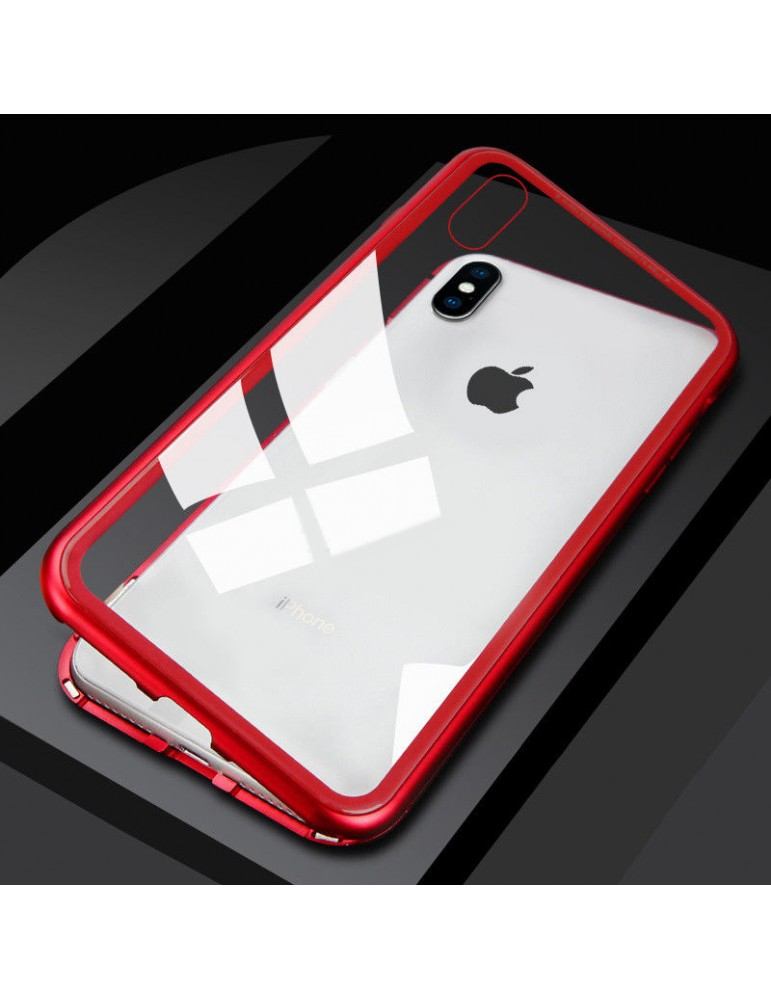 Cover Magnetica Metallica Rossa per iPhone X completa di vetro temperato