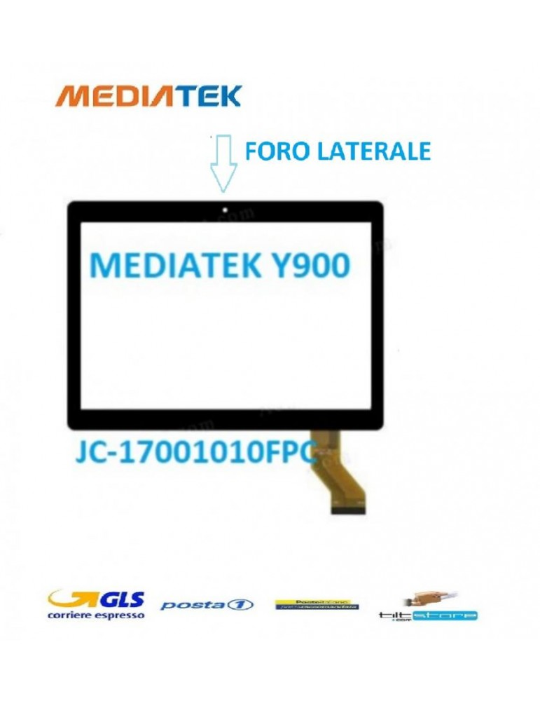 Touch Vetro Mediatek Y900 FLAT JC-17001010FPC ASCTP-10123ast-1001 /2016.10.06- WY-CTP0001 FORO FOTOCAMERA LATERALE  NERO