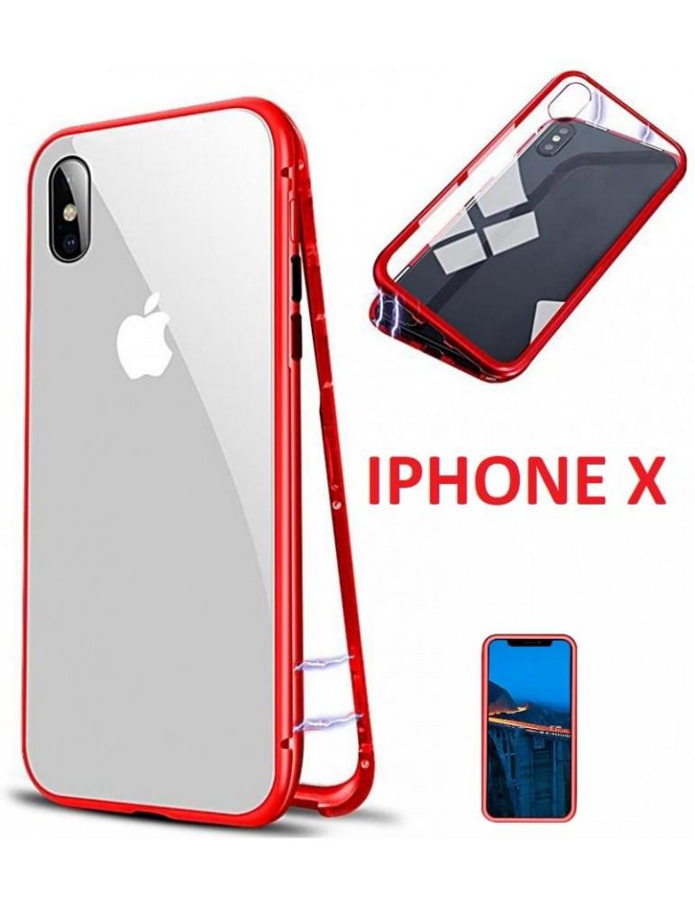 Cover per iPhone X Magnetica Metallica Rossa Completa di vetro Posteriore temperato